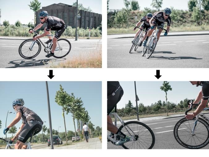 Rennradfahrer legen sich in eine Kurve